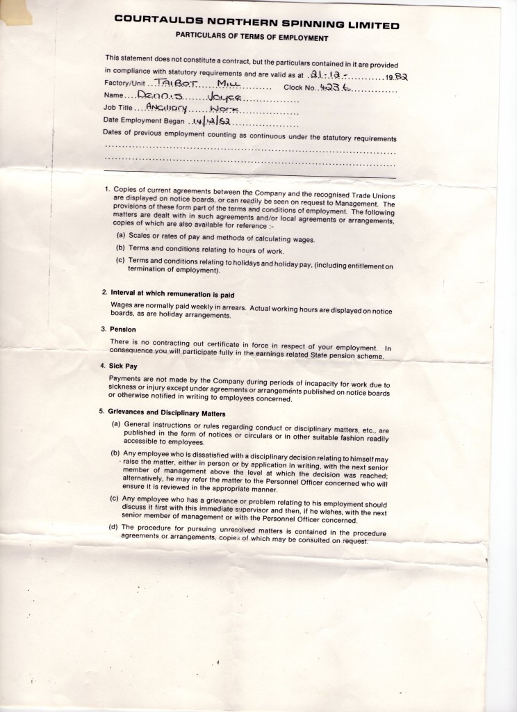Contract of Employment Page 1
