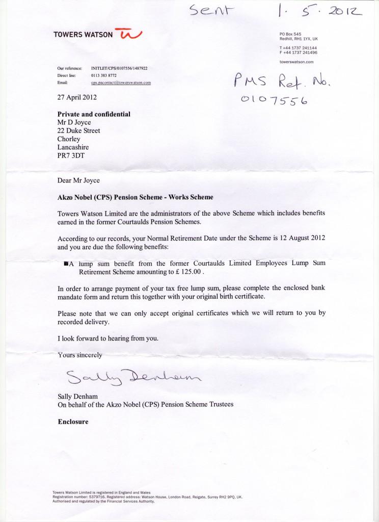 Pension Letter