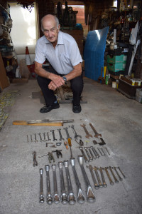 John with his tackler's tools.