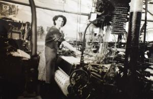 Mavis Cowling at her Lancashire Loom