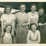 Workers at Canal Mill 1950s. Joyce,  Mrs Bibby, Pam Brown, Margaret, Sylvia